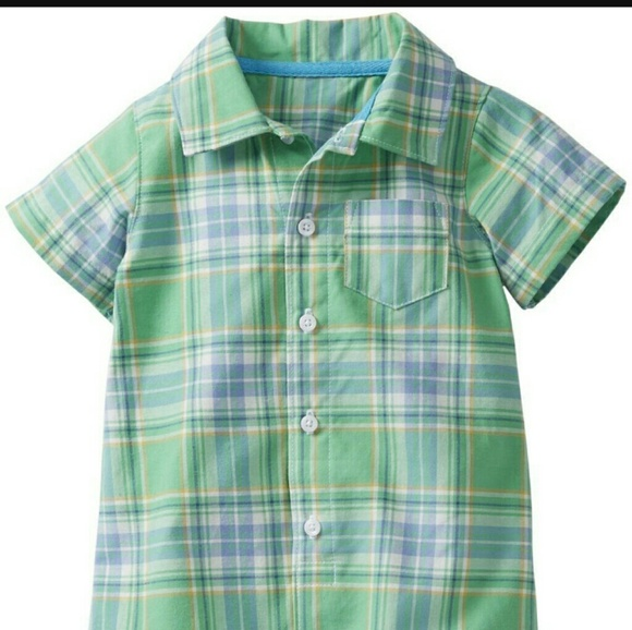 1b9a06ad9cce Carter s 6m Woven Plaid Romper Baby Boy short Polo